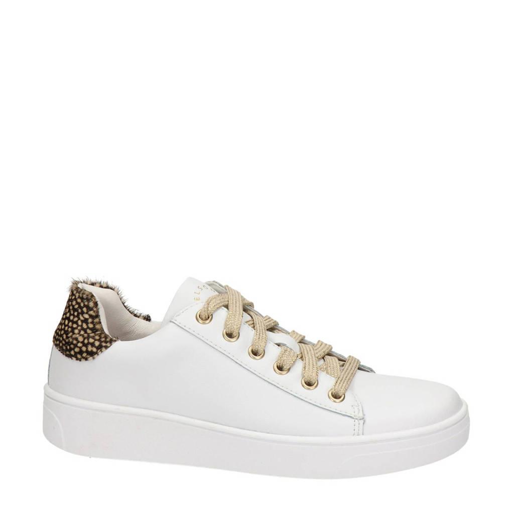 Nelson Kids   leren sneakers wit, Wit/goud