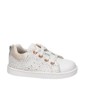 leren sneakers wit/roségoud