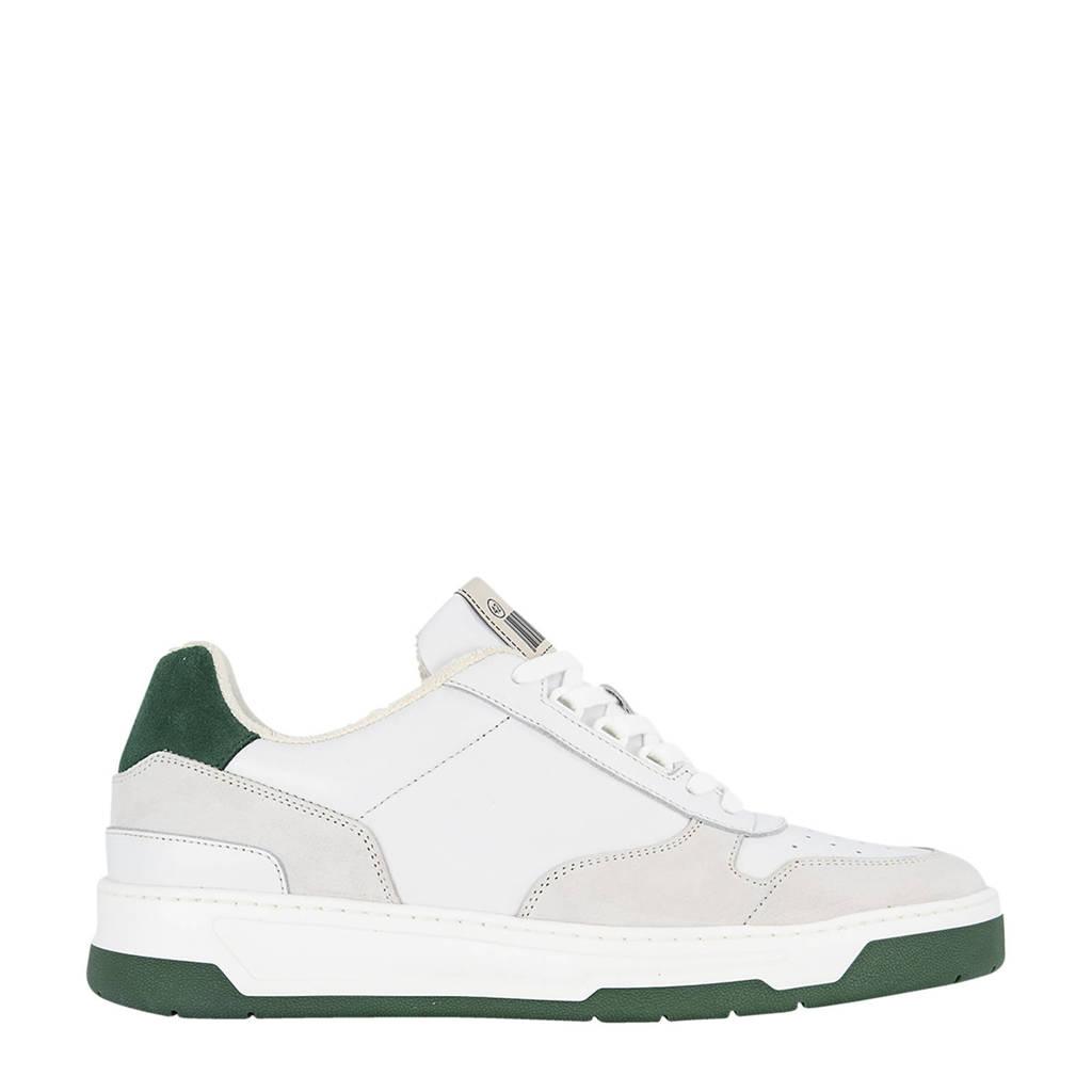 Oxmox   leren sneakers wit/groen, Wit/groen