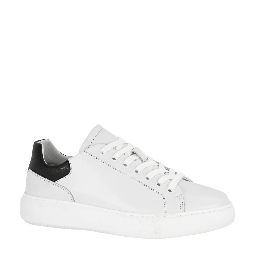 Oxmox   leren sneakers wit, Wit/zwart
