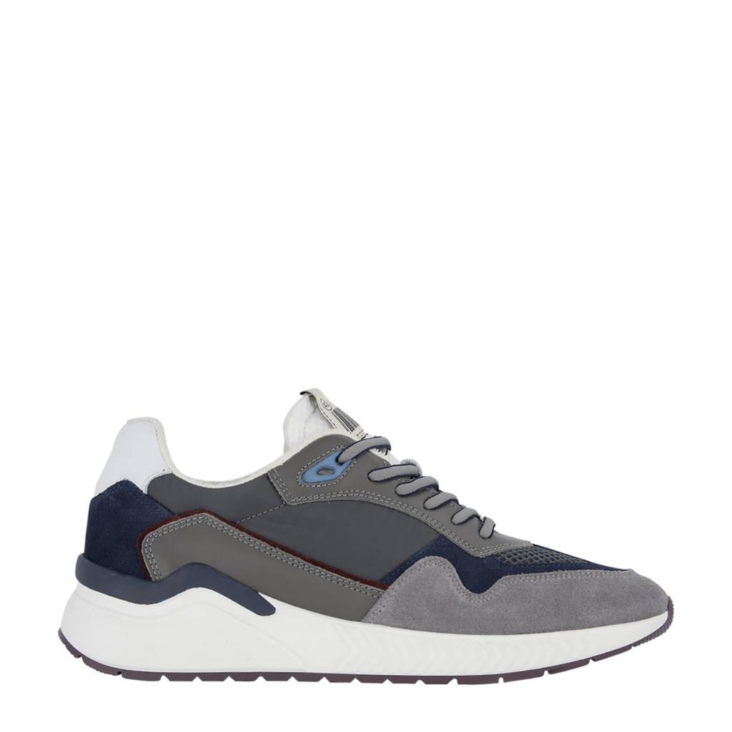 Oxmox   leren sneakers grijs, Grijs/donkerblauw