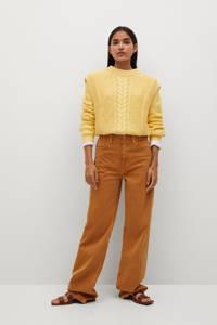 Mango grofgebreide trui geel, Geel