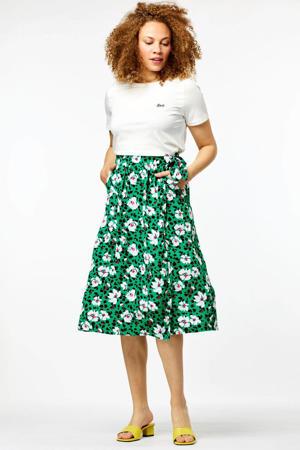 gebloemde rok Liza groen/wit/roze/zwart
