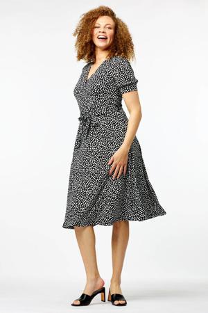 jurk Jaclyn met stippen en ceintuur zwart/wit