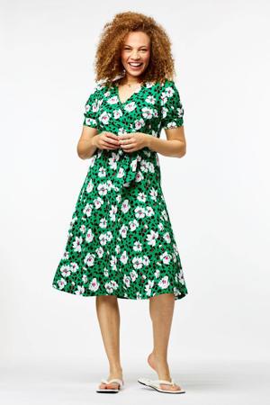 jurk Jaclyn met all over print en ceintuur groen/zwart/wit/rood