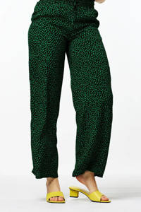 HEMA high waist wide leg palazzo broek Hula met stippen groen/zwart, Groen/zwart
