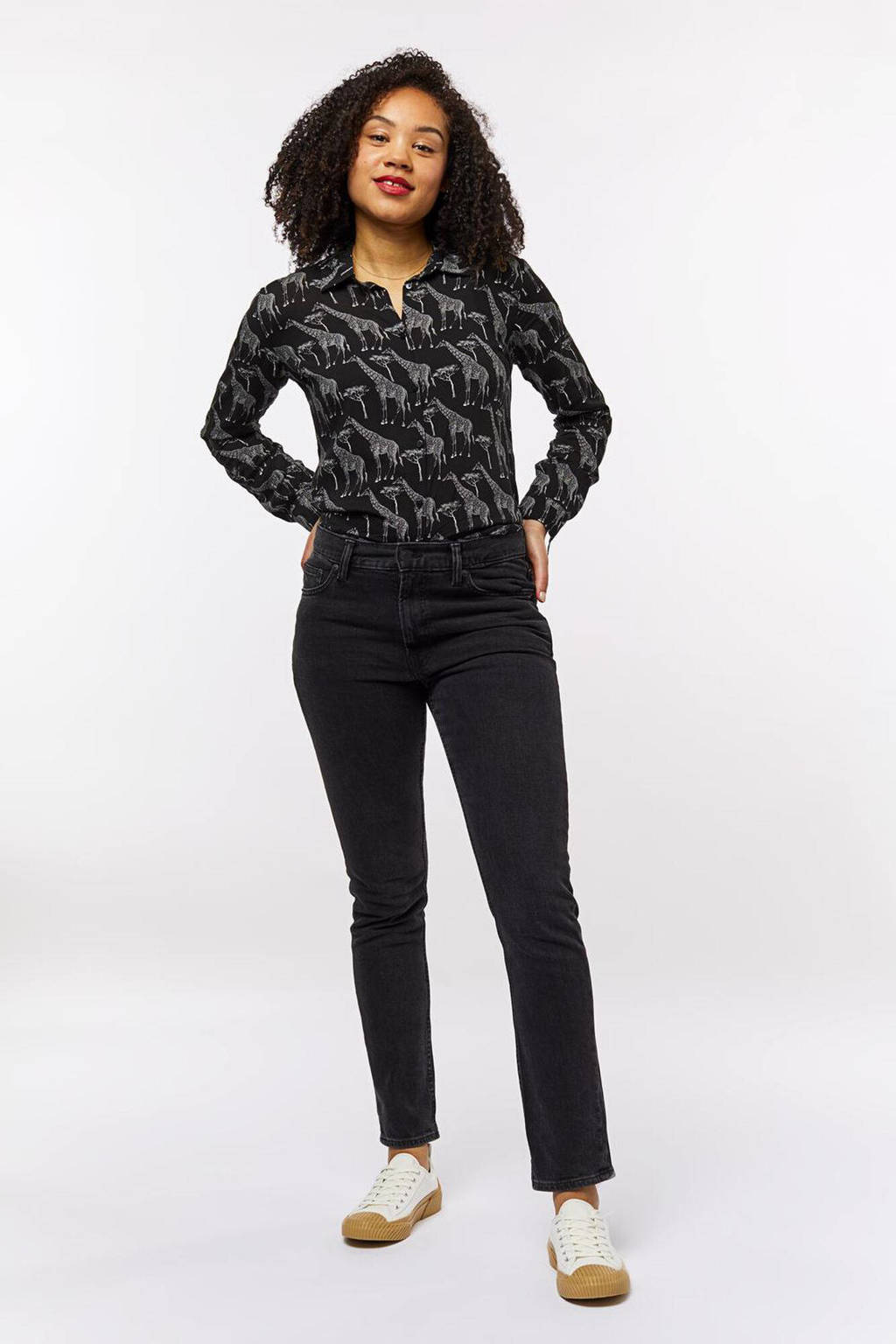 HEMA blouse met all over print zwart, Zwart