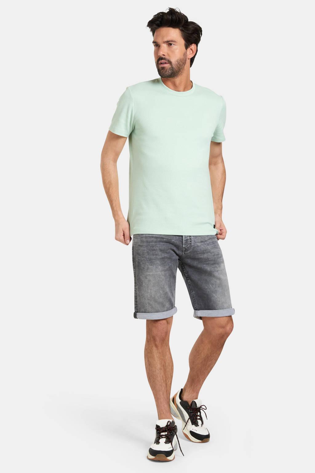 Refill by Shoeby T-shirt Tabor met textuur lichtgroen, Lichtgroen