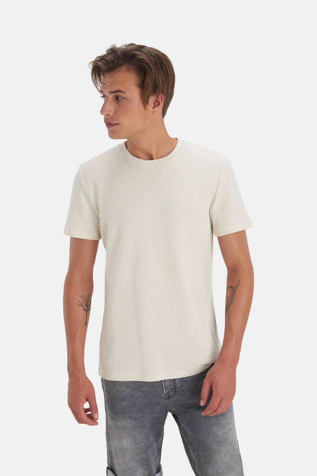 Refill by Shoeby T-shirt Terry met textuur zand, Zand
