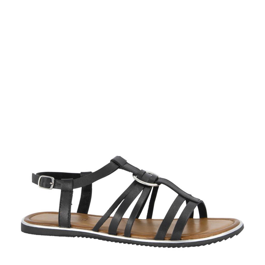 5th Avenue   leren sandalen zwart, Zwart