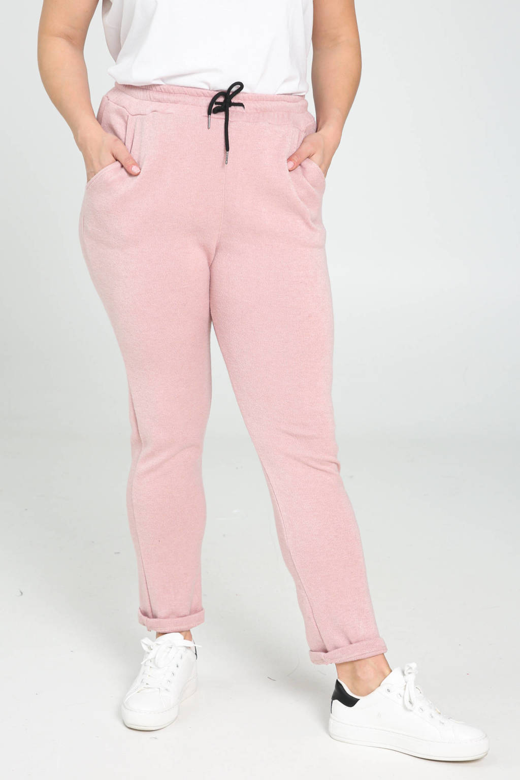Paprika slim fit joggingbroek zwart, Rosé