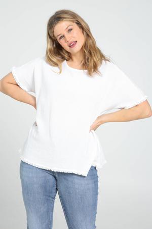 T-shirt met franjes wit