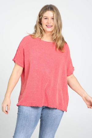 T-shirt met franjes koraalrood