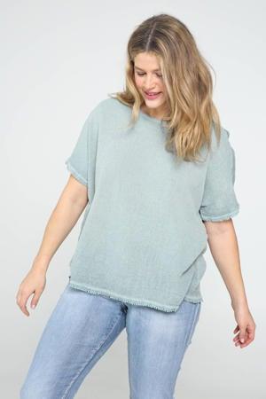 T-shirt met franjes mintgroen