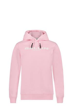 unisex hoodie met logo lichtroze