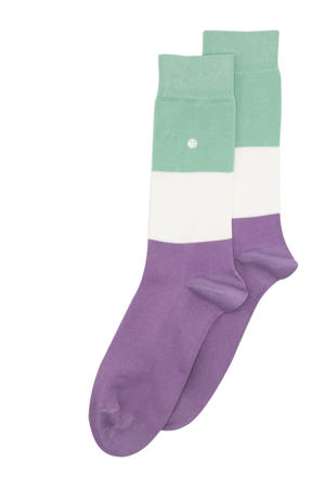 sokken Big Stripes lila/ecru/mintgroen