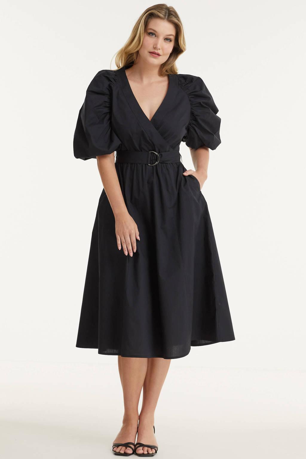 Miljuschka by Wehkamp katoenen jurk met pofmouw zwart, Zwart