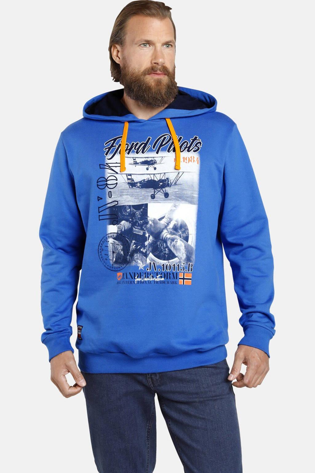 Jan Vanderstorm hoodie MELF met printopdruk Plus Size blauw, Blauw