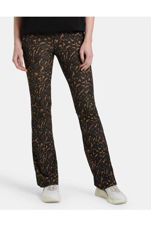 flared legging bruin/zwart