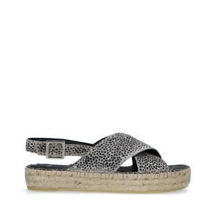 leren plateau sandalen met panterprint grijs