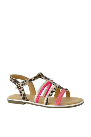 sandalen met panterprint roze