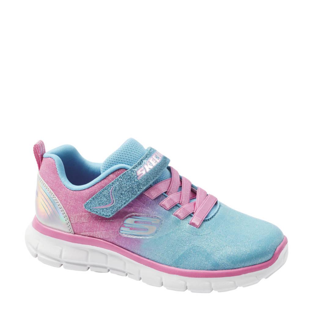 Skechers   sneakers met glitters blauw/roze, Blauw/roze
