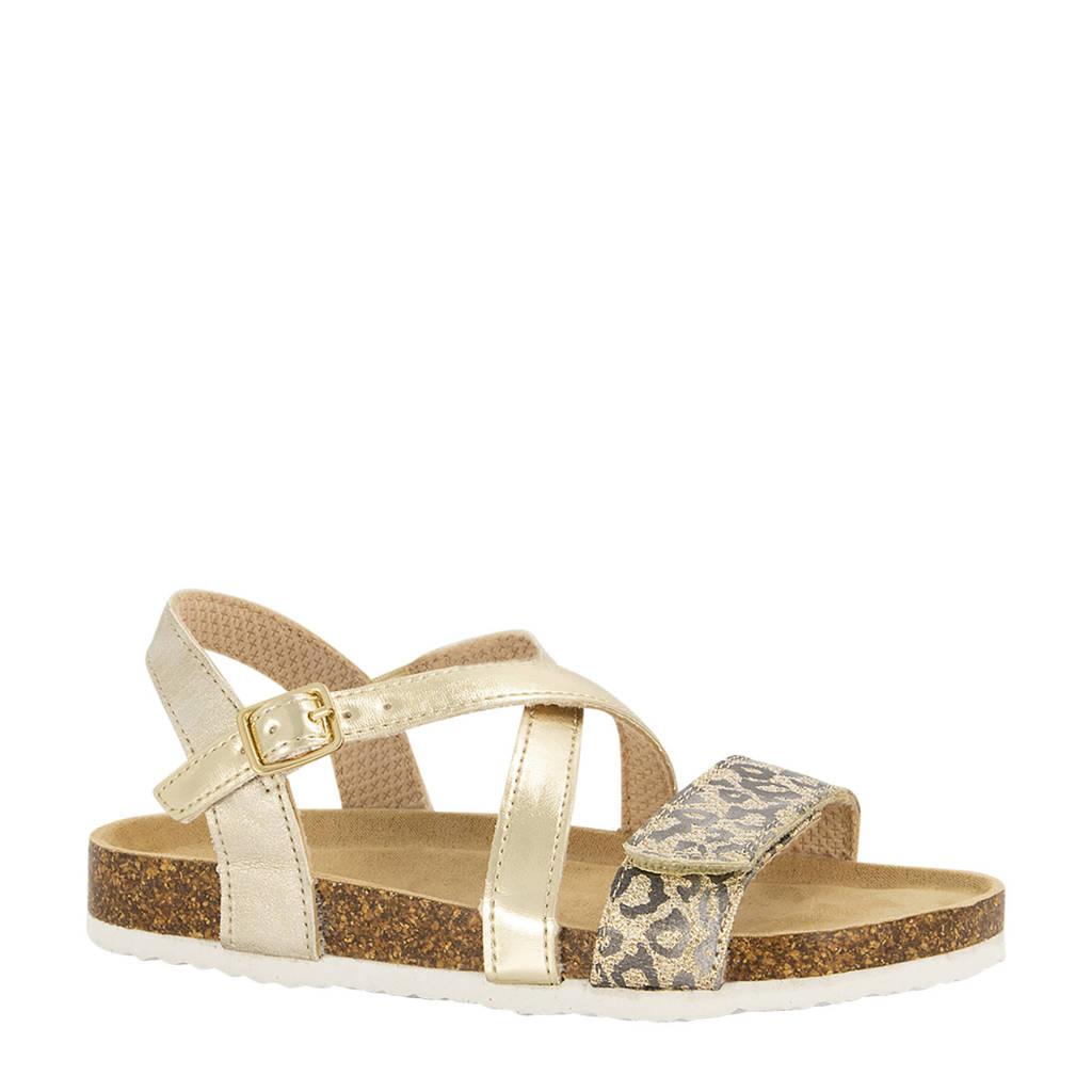 Graceland   sandalen met panterprint goud, Goud