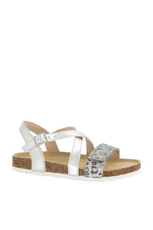 sandalen met panterprint zilver