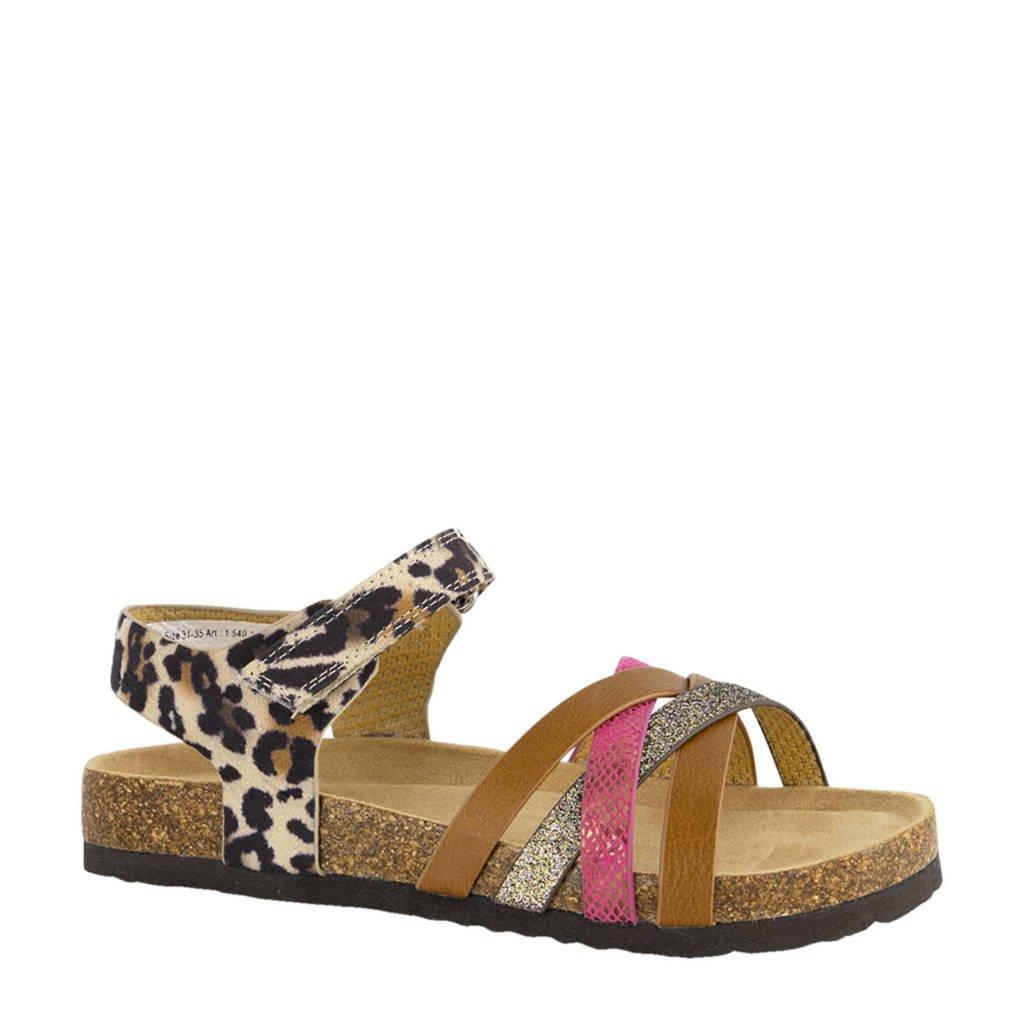Graceland   sandalen met panterprint bruin/roze, Bruin/roze