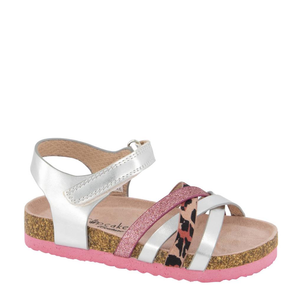 Cupcake Couture   sandalen met panterprint zilver, Zilver/roze