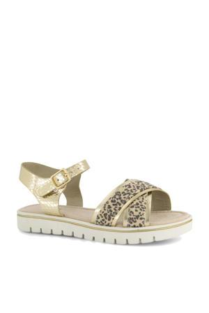 sandalen met panterprint goud