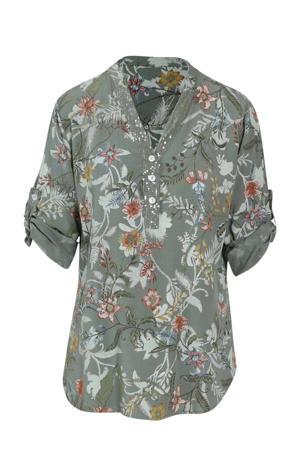 blouse met all over print kaki