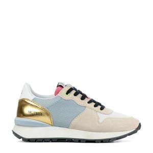 12637  leren sneakers beige/lichtblauw