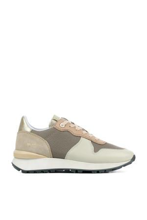 12637  leren sneakers taupe/multi