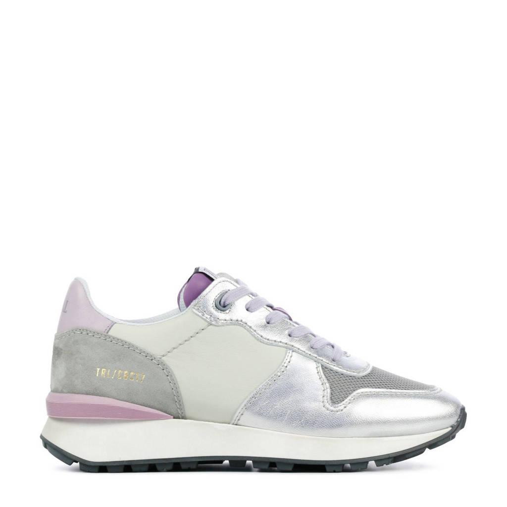 Toral 12637  leren sneakers zilver/lila, Zilver/lila