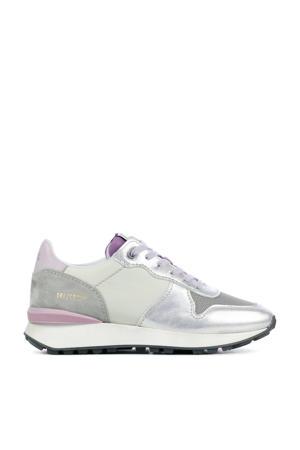 12637  leren sneakers zilver/lila