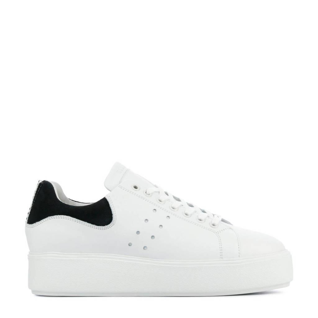 Nubikk Elise Marlow  leren plateau sneakers wit/zwart, Wit/zwart