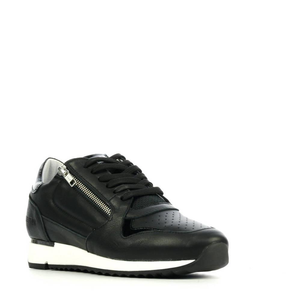 Red Rag 76748  leren sneakers zwart, Zwart