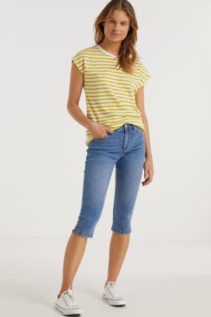 gestreepte T-shirt geel/wit