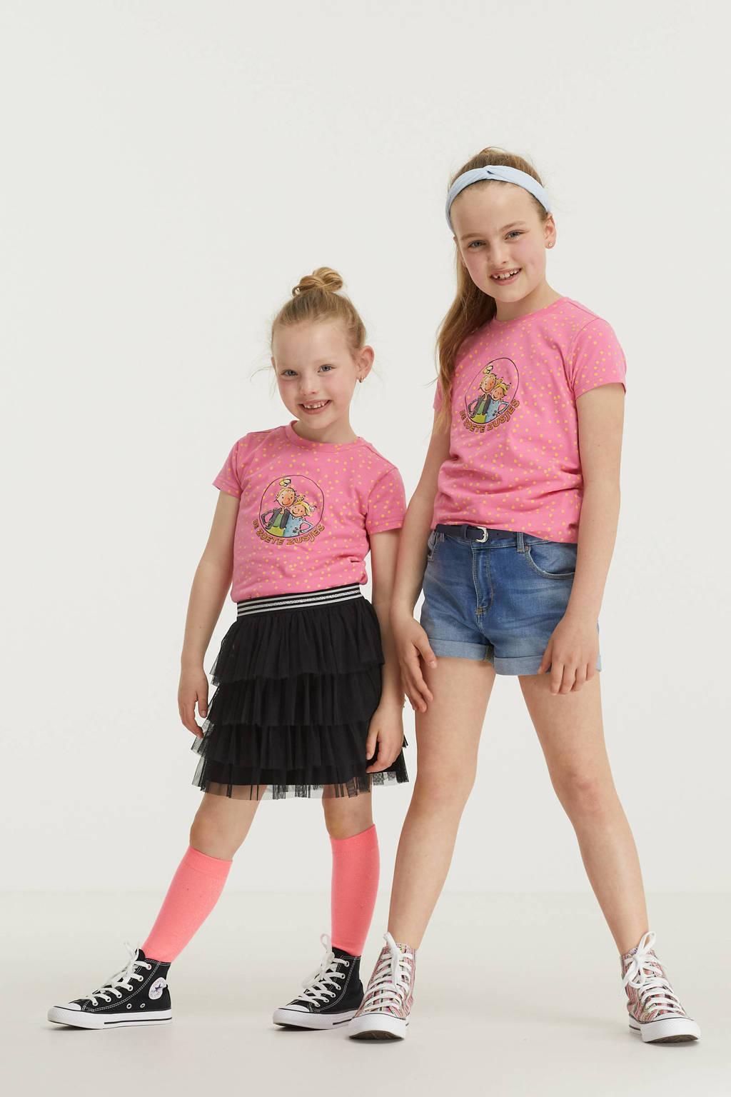 De Zoete Zusjes by Wehkamp T-shirt met stippenprint roze/geel, Roze/geel