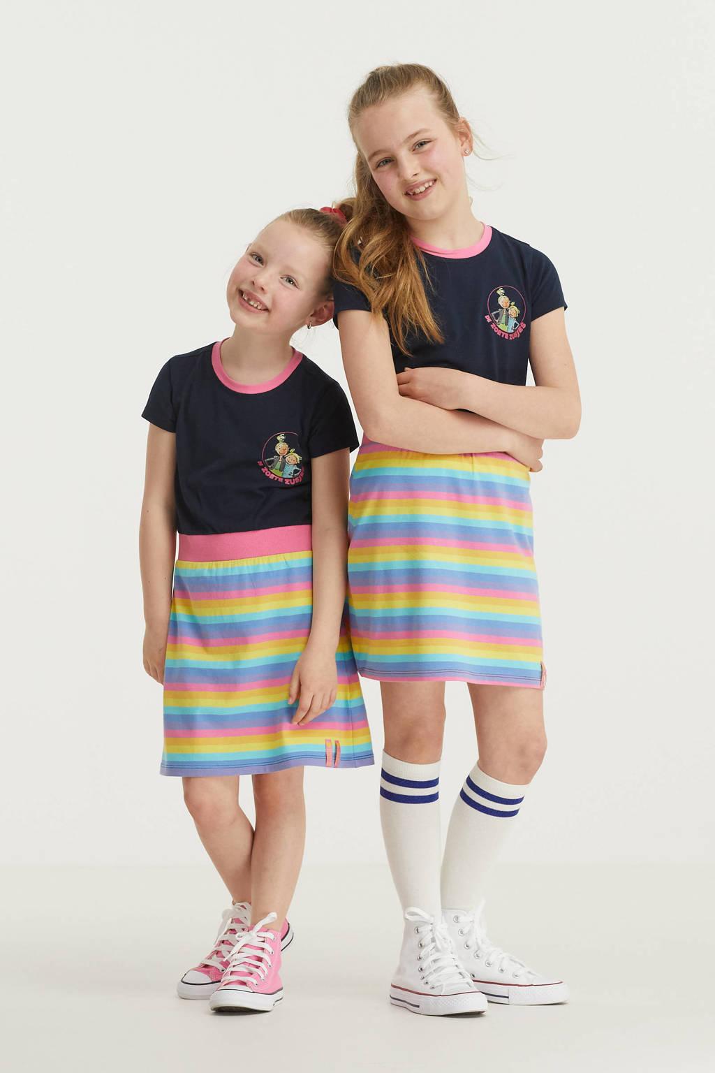 De Zoete Zusjes by Wehkamp jurk donkerblauw/roze/geel, Donkerblauw/roze/geel