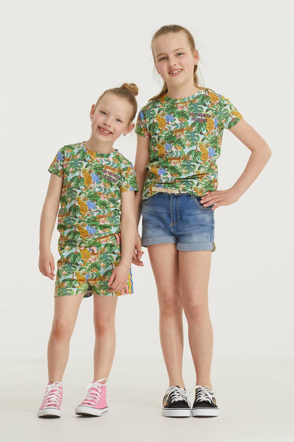 De Zoete Zusjes by Wehkamp T-shirt met jungle print groen/geel/blauw, Groen/blauw/geel