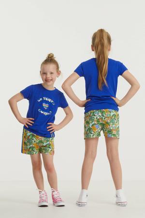 sweatshort met jungle print groen/blauw/geel/roze