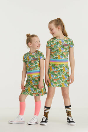jurk met all over jungle print groen/geel/blauw