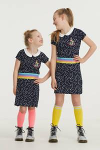 De Zoete Zusjes by Wehkamp jurk met all over stippen print donkerblauw/wit, Donkerblauw/wit