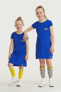 De Zoete Zusjes by Wehkamp jurk met tekstopdruk blauw/geel, Blauw/geel