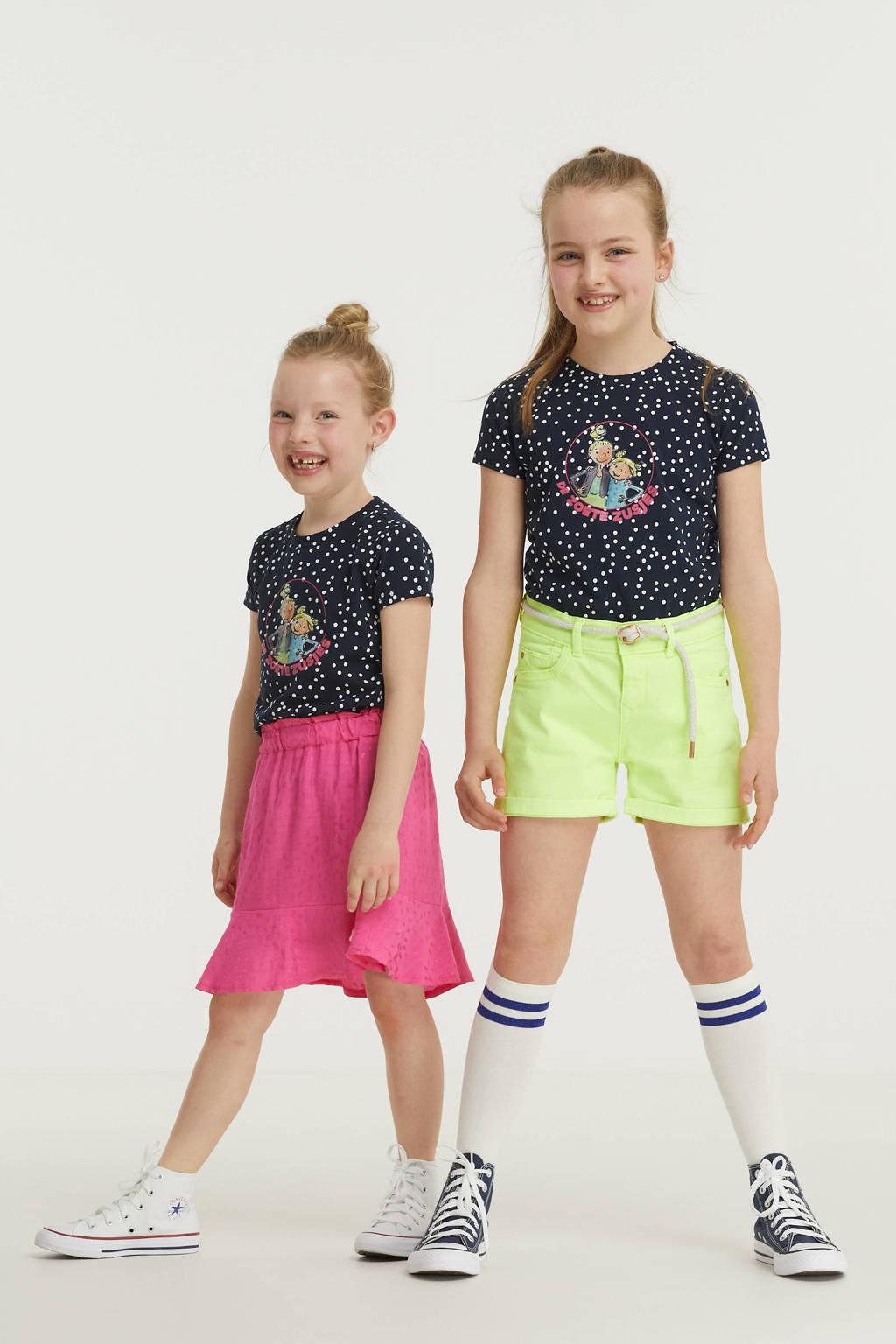 De Zoete Zusjes by Wehkamp T-shirt met stippenprint donkerblauw/wit, Donkerblauw/wit