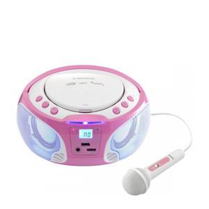 SCD-650PK Draagbare FM Radio CD/MP3/USB microfoon en licht effecten - Roze