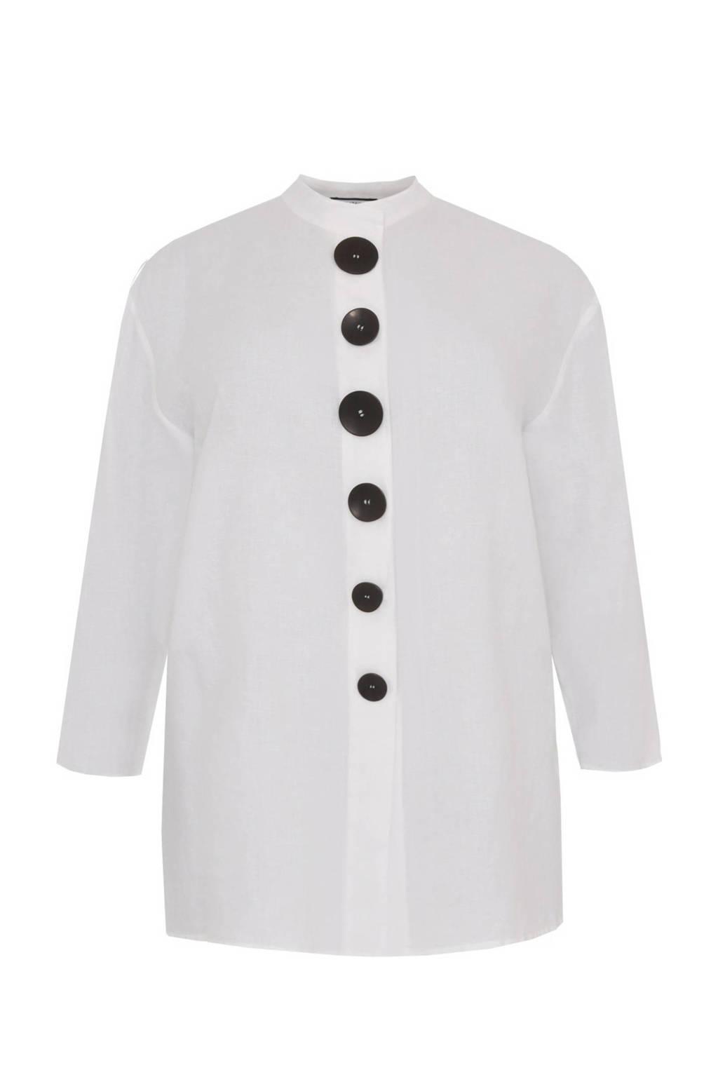 Yoek linnen blousejasje LINEN wit/zwart, Wit/zwart