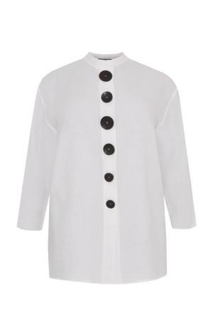 linnen blousejasje LINEN wit/zwart